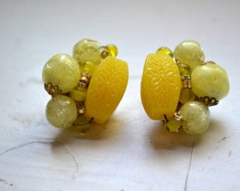 1950s West German Yellow Glass Bead Cluster Clip Earrings