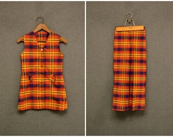 1970s Kid's Millbrook Plaid Vest and Bell Bottoms Set