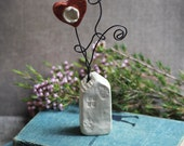 Ceramic Flowers and House ~ Card or Picture Holder