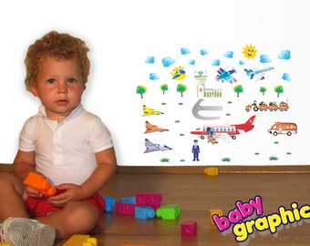 children airplanes, fighter jet, helicopter & airport wall stickers set - repositionable (by babygraphics)