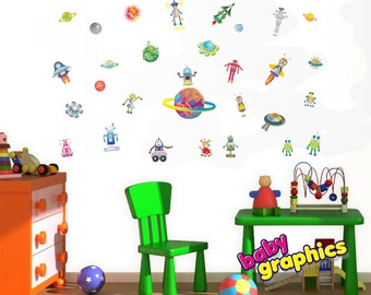 robots and planets wall decals scene - removable (by babygraphics)