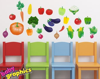 Vegetables wall decals (peppers, onions, tomatoes, broccoli, etc) - removable (by babygraphics)