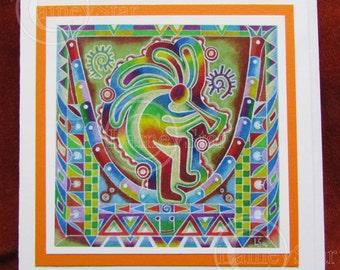 Kokopelli Colorful  Funky Rainbow Greetings Card