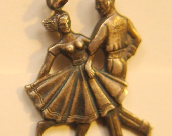 Sterling Silver Charm Couple Dancing Engraved 1961