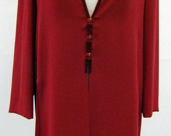 Vintage Frank Usher Red Crepe Beaded Kaftan/Dress UK Size 12/14