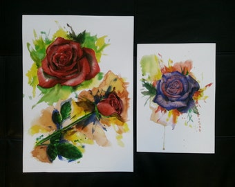 Watercolour Painting Purple Rose & Red Roses (prints)