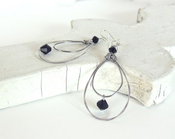 GUITAR STRING EARRINGS - black crystal earrings - silver earrings - recycled/eco-friendly/upcycled jewelry - under 25.00
