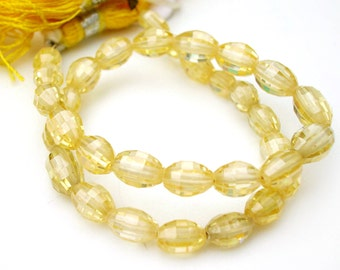 Long Drilled Bright Yellow Faceted Cubic Zirconia Barrel Nuggets 6mm -1/2 Strand