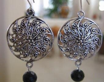 Dangle Earrings, Bali Silver, Black Onyx