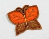 Fall Butterfly Felt Stitchie - Autumn Butterfly Felt Applique-Butterfly Felties-Butterfly Embroidered Felt- Fall Applique-UNCUT (Set of 4)
