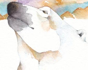 Ice BEAR ACEO watercolor ORIGINAL - 'Earthkeeper' - totem spirit animal polar bear - Free Shipping