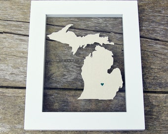 MICHIGAN 8x10 Original Framed Canvas Art * LOVE State & City Hand Cut and Painted Gift
