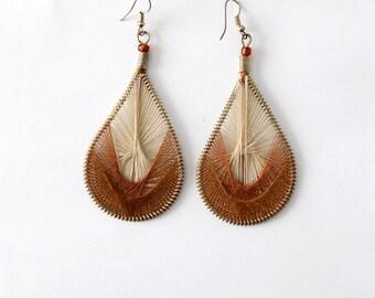 vintage string art earrings, Peruvian thread earrings
