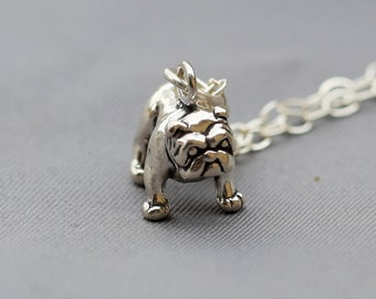 Sterling Silver Bull Dog Charm Pendant Necklace, Bull Dog Puppy,3D Bulldog Charm,Bull Dog Lover, Sterling Silver Charm Pendant Necklace