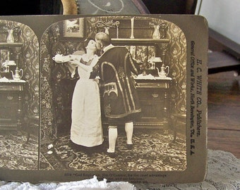 Antique Stereoview Card Kissing Couple 3D Card Stereoscope Card Stereograph Card 1903 Wedding Card