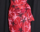 Vintage 1950s inspired Hawaiian sarong halter wiggle dress red with black palm trees XL VLV rockabilly Viva