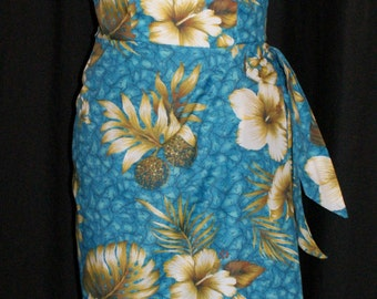 Vintage 1950s inspired Hawaiian sarong halter wiggle dress turquoise with ivory hibiscus M XL XXL VLV rockabilly Viva