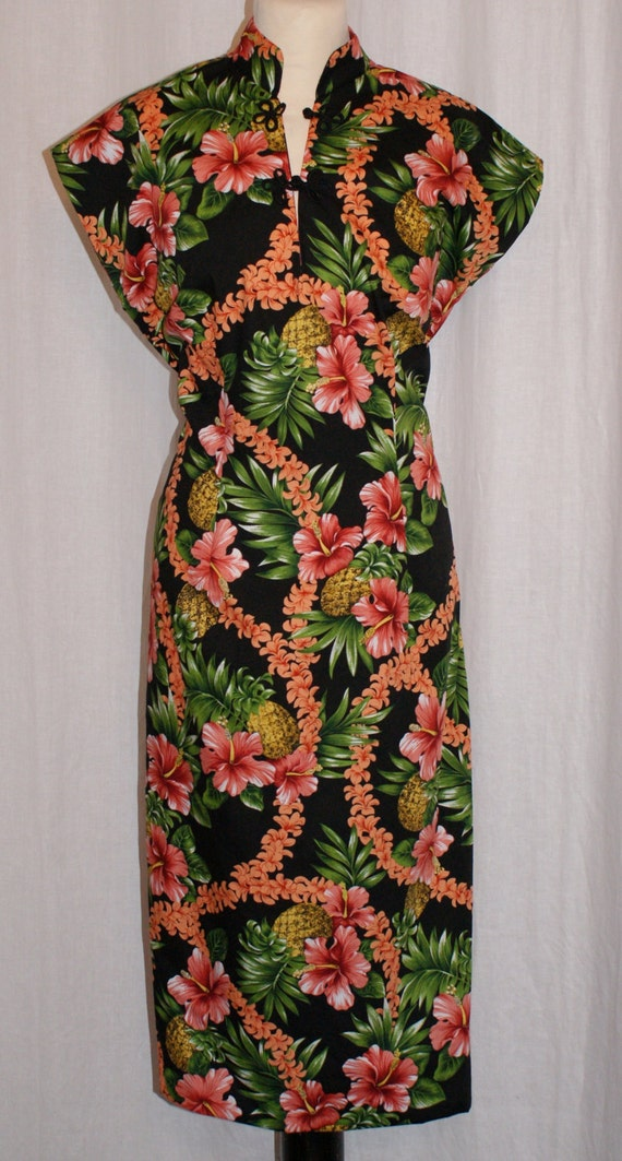 Vintage 1950s inspired Hawaiian tea timer wiggle dress very limited numbers M only rockabilly VLV