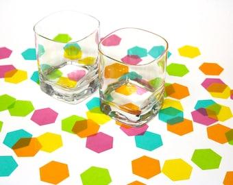 Hexagon Confetti - large translucent vellum paper confetti, hexagon, geometric, honeycomb, wedding decor, table decor, party decoration