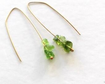 gold green gem earrings- peridot chip earrings
