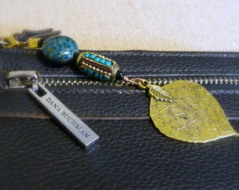 Gold Purse Charm, Leaf Zipper Pull, Beaded Purse Charm,Gold Zipper Charm, Turquoise Colored Purse Charm, Gold Lobster Clasp Accessory