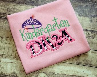 Girls School Shirt - Back To School Shirt, School Dress, Kindergarten Shirt, Kindergarten Dress, 1st Day of School, Kindergarten Diva, B2S