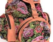 Huipil Bag, Leather Backpack, Leather Bag,  Guatemalan Backpack, Handmade Needlepoint Backpack, Needlepoint Purse, Floral