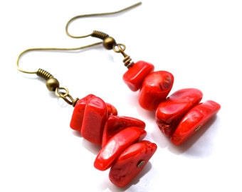 Red Bamboo Coral . Earrings