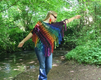 Knitted poncho tassled shawl blanket 'Sparkle Rainbow' MADE to ORDER - Hand dyed handspun wool art yarn - Handmade fiber ARtWeAR