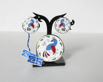 Enamel Earring and Pin Brooch Set Peacock Jewelry by Robbins  Pennsylvania Dutch Goldfinch Red and Blue Enamel