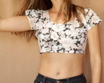 Tank top vintage CROP  top FLORAL short sleeve