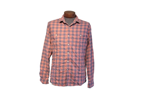 Salmon Pink Gray Vintage Flannel Size Large