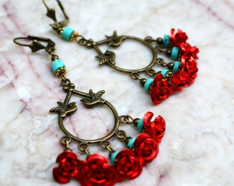 Red Rose Chandelier Earrings Frida Birds Turquoise Jewelry  Bronze Hobo