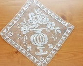 Lovely Bobbin Lace Vintage Doily, 7 inches