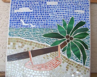 Stained Glass Mosaic Art Beach Decor Coastal Home Decor Mosaic Wall Art Coastal Art Beach Scene Art Original Art Unique Gift