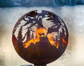 "High Mountain Fire Pit - 30"" Custom Outdoor Hand Cut Steel Firepit Sphere"