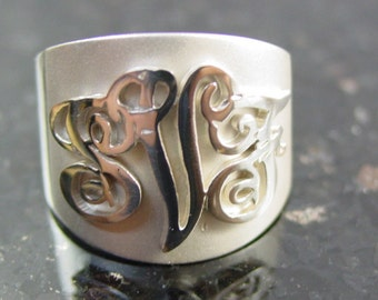 Sterling silver initial ring.any three  initials  cut out .