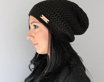 Organic Cotton Crochet Black  Slouchy Beanie Hat, Unisex Adult Classic Black Winter Hat