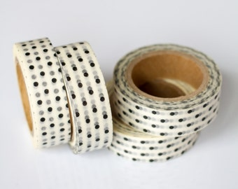WASHI TAPE CLEARANCE - 1 Roll of Black and White Polka Dot Masking Tape / Japanese Washi Tape (.60 inches x 33 feet)