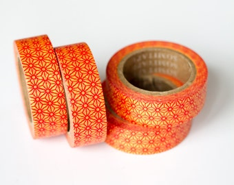 WASHI TAPE CLEARANCE - 1 Roll of Red and Yellow Stars Washi Tape / Decorative Masking Tape (.60 inches wide x 33 feet long)