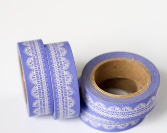 75% OFF CLEARANCE - 1 Roll of Lavender Lilac Purple Scallop Lace Doily Washi Tape / Decorative Masking Tape (.60 inches wide x 33 feet long)