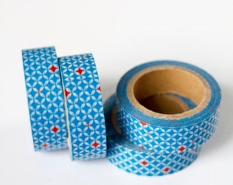 50% OFF SALE - 1 Roll of Blue and Red Star Circle Flower Patterned Washi Tape / Decorative Masking Tape (.60 inches wide x 33 feet long)