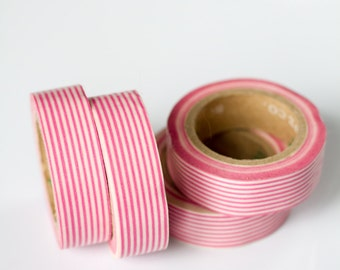 WASHI TAPE CLEARANCE - 1 Roll of Pink and White Pinstripe Masking Tape / Japanese Washi Tape (.60 inches x 33 feet)