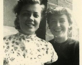 "Vintage Photo ""Their Best Smiles"" Girl Snapshot Photo Old Antique Photo Black & White Photograph Found Photo Paper Ephemera Vernacular - 166"
