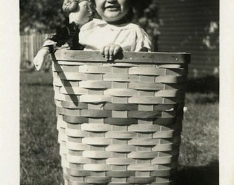 "Vintage Photo ""Basket Playhouse"" Toy Doll Snapshot Photo Antique Photo Black & White Photograph Found Photo Paper Ephemera Vernacular - 192"