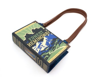 Hemingway Book Purse - Decadence Handbag- Blue Interior - Novel Bookpurse - Great gift for book lover, teacher, or Mother's Day