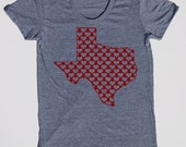 Womens Texas hearts t shirt on american apparel athletic gray- available in s,m, l, xl- Worldwide shipping