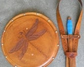 DAGGER Set - Dagger, Shield, & sword Belt w/ DRAGONFLY Emblem - Handmade Leather