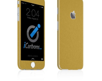 iCarbons Brushed Gold iPhone 6 / 6 Plus / 6S / 6S Plus Skin Decal FULL COMBO