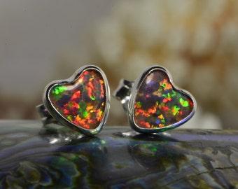 Opal Earrings 6.5mm Studs Earrings Handmade Opal jewelry Gemstone Earrings